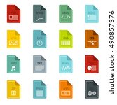 file format icons set in flat... | Shutterstock . vector #490857376