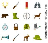 hunting icons set in flat style.... | Shutterstock . vector #490857448