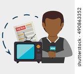 man tv reportage news | Shutterstock .eps vector #490863352