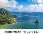 Aerial View Of Kualoa Point An...