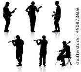 silhouettes street musicians... | Shutterstock .eps vector #490873606