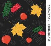 autumn elements seamless pattern | Shutterstock .eps vector #490874032