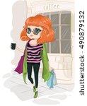 cute girl vector t shirt print... | Shutterstock .eps vector #490879132