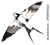 Stock photo black and white monochrome painting with water and ink draw swallow bird illustration 490890562