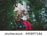 two little boys sitting on the... | Shutterstock . vector #490897186