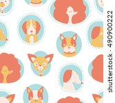 vector seamless pattern with... | Shutterstock .eps vector #490900222