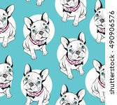 french bulldog  seamless... | Shutterstock .eps vector #490906576
