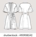 bridal robe. sleeve satin... | Shutterstock .eps vector #490908142