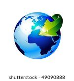 3d style earth globe with an... | Shutterstock . vector #49090888