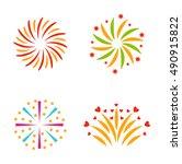 festive firework bursting shape ... | Shutterstock .eps vector #490915822