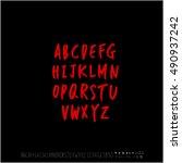 alphabet   number   handwriting ... | Shutterstock .eps vector #490937242