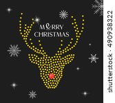 Christmas Deer Card Vector...