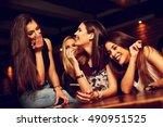 group of young women friends... | Shutterstock . vector #490951525