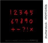 alphabet   number   handwriting ...   Shutterstock .eps vector #490953406