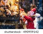 children window shopping on... | Shutterstock . vector #490959142