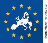 european union flag and map... | Shutterstock .eps vector #490959412
