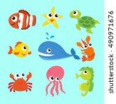 seamless underwater cartoon...   Shutterstock .eps vector #490971676