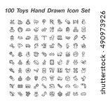 100 toys hand drawn icon set | Shutterstock .eps vector #490973926
