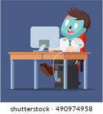 zombie office working on his... | Shutterstock .eps vector #490974958