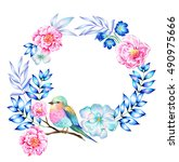 beautiful wreath with flowers ... | Shutterstock . vector #490975666