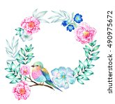 beautiful wreath with flowers ... | Shutterstock . vector #490975672