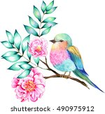bouquet of exotic flower with a ... | Shutterstock . vector #490975912
