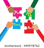 puzzle design  plan do check act | Shutterstock .eps vector #490978762