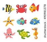 seamless underwater cartoon... | Shutterstock .eps vector #490981378
