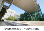 modern building facade in urban ... | Shutterstock . vector #490987582