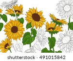 hand drawn sunflowers and... | Shutterstock .eps vector #491015842