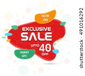 exclusive sale flyer  banner ... | Shutterstock .eps vector #491016292