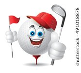 characters with golf ball | Shutterstock .eps vector #491018878