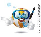 beach ball summer story using... | Shutterstock .eps vector #491018908