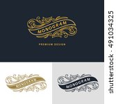 monogram design elements ...   Shutterstock .eps vector #491034325