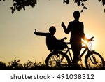 father and son having fun... | Shutterstock . vector #491038312