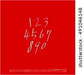 alphabet   number   handwriting ... | Shutterstock .eps vector #491046148