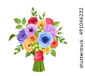 vector bouquet of red  orange ... | Shutterstock .eps vector #491046232