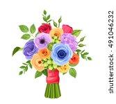 vector bouquet of red  orange ... | Shutterstock .eps vector #491046232