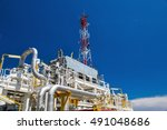 communication towers offshore... | Shutterstock . vector #491048686
