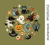 halloween poster or greeting... | Shutterstock .eps vector #491051512
