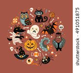 halloween poster or greeting... | Shutterstock .eps vector #491051875