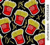 french fries seamless pattern... | Shutterstock .eps vector #491053168
