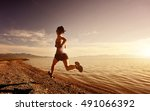 healthy young fitness woman... | Shutterstock . vector #491066392