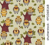 seamless pattern with owls  oak ... | Shutterstock .eps vector #491068168