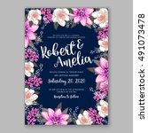 wedding invitation card with... | Shutterstock .eps vector #491073478