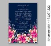 romantic pink peony bouquet... | Shutterstock .eps vector #491074222