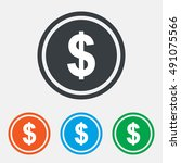 dollars sign icon. usd currency ... | Shutterstock .eps vector #491075566