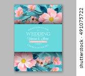romantic pink peony bouquet...   Shutterstock .eps vector #491075722