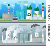 eco factory green energy and... | Shutterstock .eps vector #491078386