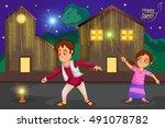 kids enjoying firecracker... | Shutterstock .eps vector #491078782